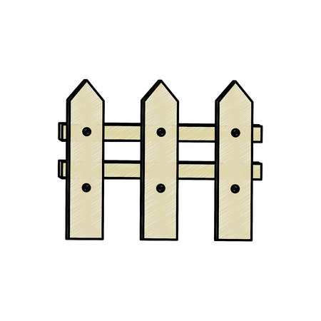 Illustration for Wooden fence icon over white background vector illustration - Royalty Free Image