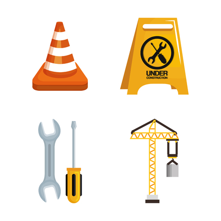 Illustrazione per under construction equipment tools hardwork vector illustration - Immagini Royalty Free