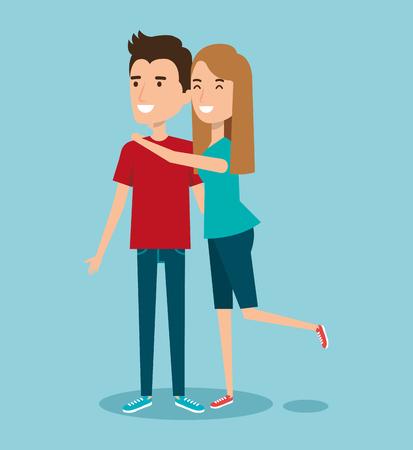 Illustration pour young happy couple gesturing smile on blue background vector illustration - image libre de droit