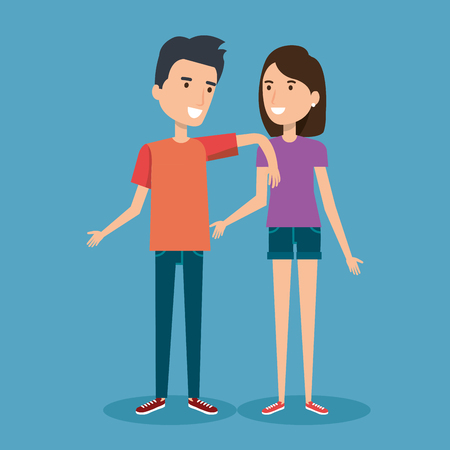 Illustration pour young happy couple gesturing smile on blue background vector illustration - image libre de droit