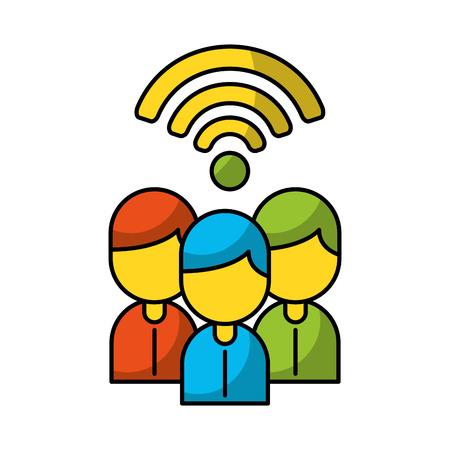 Illustration pour Teamwork people avatars with wifi signal vector illustration design - image libre de droit