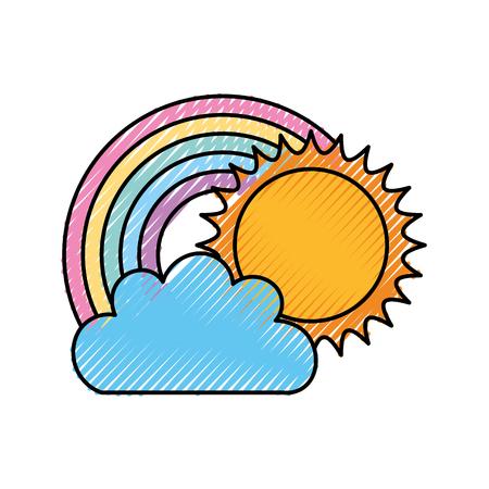 Illustration pour Beautiful fantasy cloud with sun and rainbows vector illustration design - image libre de droit
