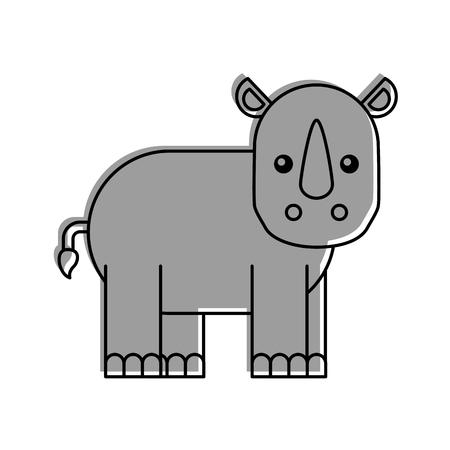 Illustration for Wild rhinoceros isolated icon vector illustration design - Royalty Free Image