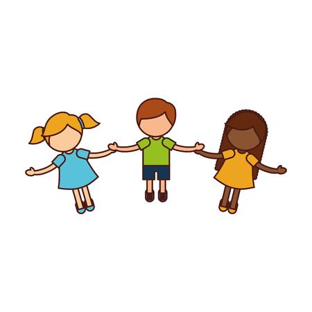 Ilustración de Children holding hands characters vector illustration design - Imagen libre de derechos