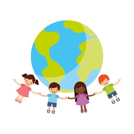 Illustration for Children holding hands around the world vector illustration design - Royalty Free Image