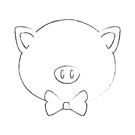 Illustrazione per cartoon pig animal icon over white background colorful design vector illustration - Immagini Royalty Free