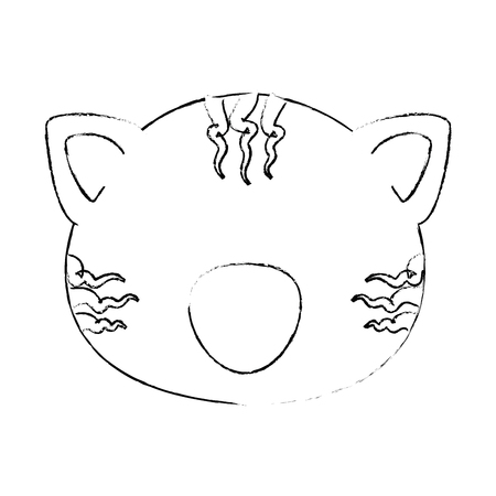 Illustrazione per cartoon tiger animal icon over white background vector illustration - Immagini Royalty Free