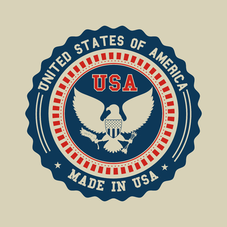 Illustration for Seal stamp and eagle of United States of America theme Vector illustration - Royalty Free Image