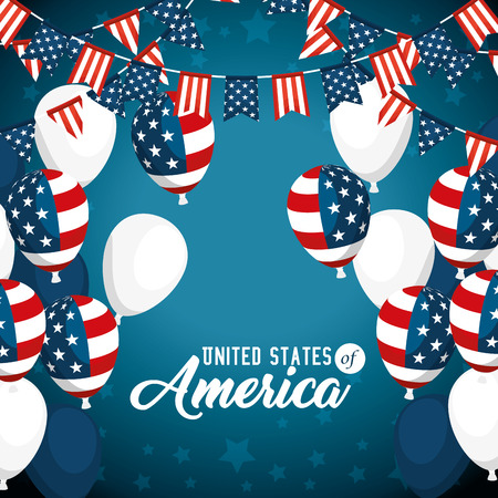 Illustration for Balloons of United States of America theme Vector illustration - Royalty Free Image