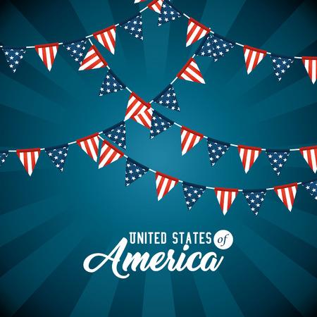 Illustration pour Pennant of United States of America theme Vector illustration - image libre de droit