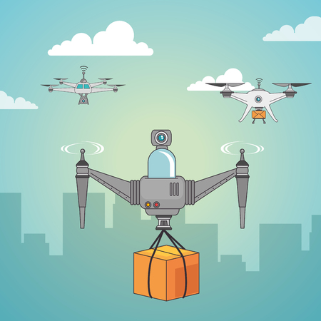 Illustration pour Drone and box of Express delivery and technology theme Vector illustration - image libre de droit