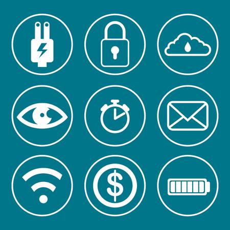 Illustration pour Social media and multimedia icon set icon. Apps communication and digital marketing theme. - image libre de droit
