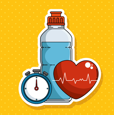Ilustración de Bottle chronometer and heart of Fitness sport and gym theme Vector illustration - Imagen libre de derechos