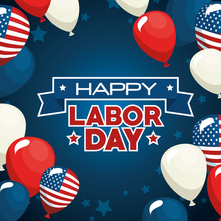 Illustration pour Balloons of Labor day in Usa theme Vector illustration - image libre de droit