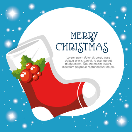 Ilustración de Boot of Merry Christmas season theme Vector illustration - Imagen libre de derechos