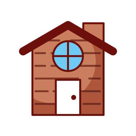 Illustration for cute house with chimney vector illustration design - Royalty Free Image