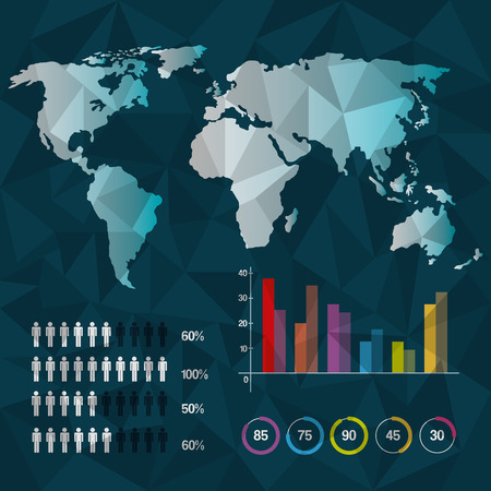 Ilustración de world map infographic demographic report data with abstract background vector illustration - Imagen libre de derechos