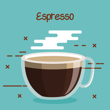 Illustration for glass cup of coffee espresso soft drink vector illustration - Royalty Free Image