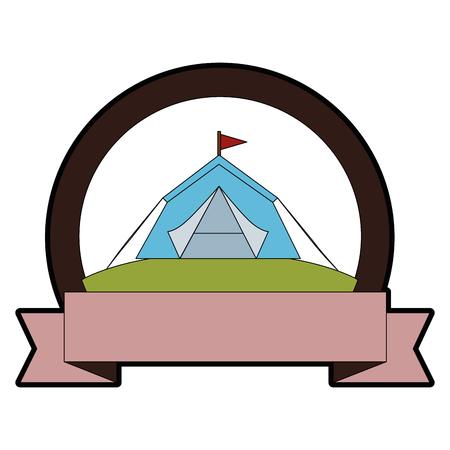 Ilustración de emblem with shelter tent icon over white background colorful design vector illustration - Imagen libre de derechos