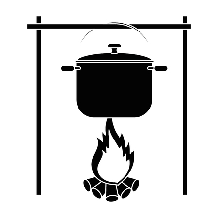 Illustration pour cooking pot over campfire icon over white background vector illustration - image libre de droit