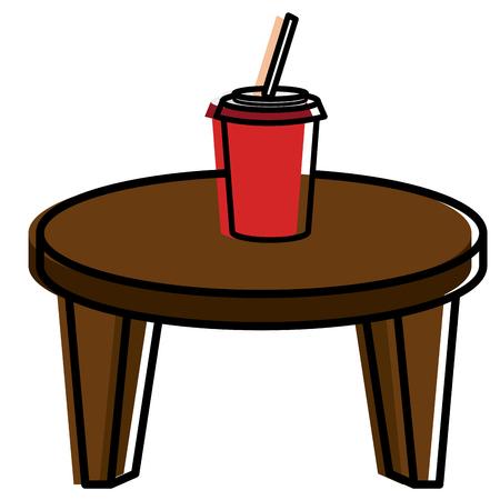 Ilustración de Round little table with coffee vector illustration design - Imagen libre de derechos