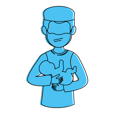 Illustration pour surgeon avatar with newborn character icon vector illustration design - image libre de droit