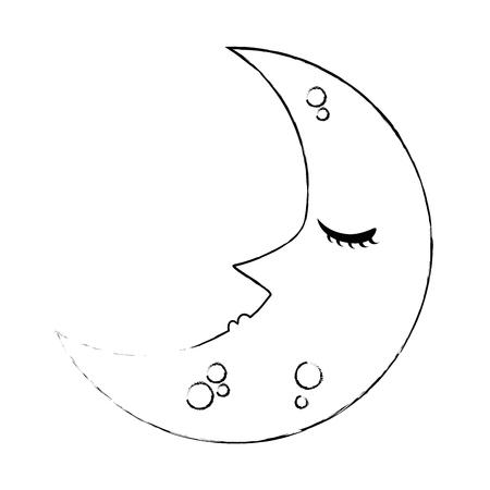 Ilustración de sleeping moon kawaii character vector illustration design - Imagen libre de derechos
