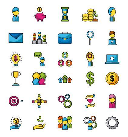 Ilustración de Business and finance icons set web app image vector illustration - Imagen libre de derechos