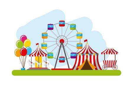 Ilustración de carnival fun fair festival circus park vector illustration - Imagen libre de derechos