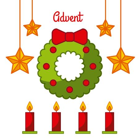 Illustration pour Advent wreath star candles decoration celebration vector illustration - image libre de droit