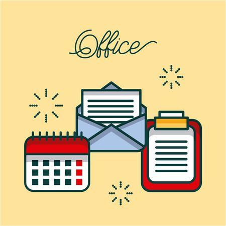 Illustration pour office checklist email calendar work image vector illustration - image libre de droit