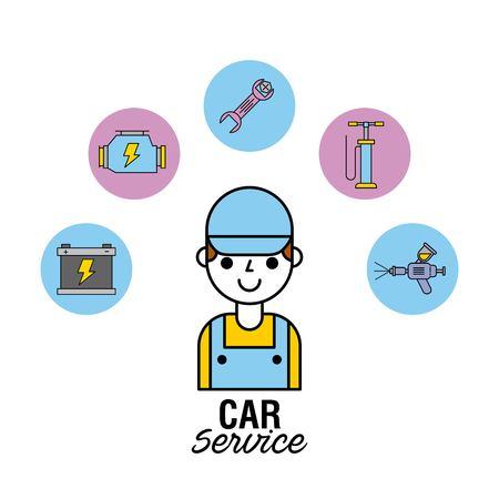 Illustration pour car service repairman engineer people mechanical vector illustration - image libre de droit