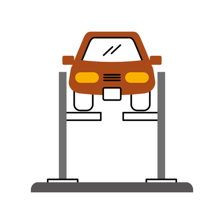 Illustration for cartoon car with alignment device at wheel alignment service station vector illustration - Royalty Free Image