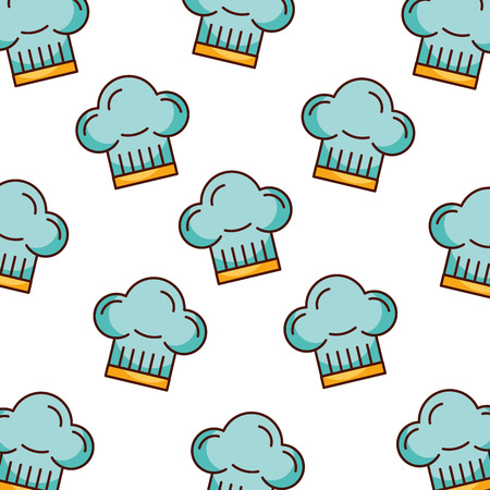 Illustration for blue chef hat bakery kitchen seamless pattern vector illustration - Royalty Free Image