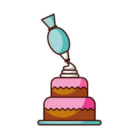 Ilustración de dessert cake and icing bag cream decoration vector illustration - Imagen libre de derechos