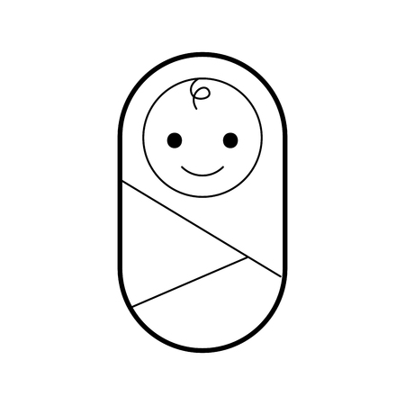 Illustration pour baby wrapped in blanket clothes healthcare vector illustration - image libre de droit