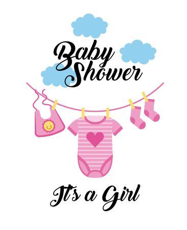 Ilustración de baby shower its a girl clothes hanging with cloud vector illustration - Imagen libre de derechos