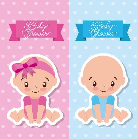 Ilustración de baby shower greeting card with boy and girl vector illustration - Imagen libre de derechos