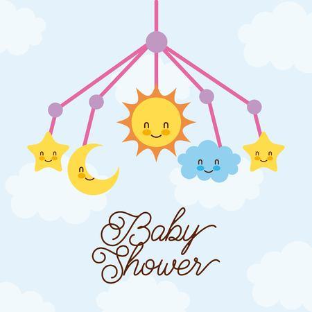 Ilustración de baby shower crib hanging toy with star moon cloud sun vector illustration - Imagen libre de derechos