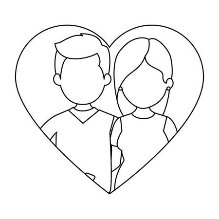 Ilustración de cute couple in love with heart vector illustration design - Imagen libre de derechos