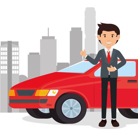 Illustration pour car salesman cartoon vector illustration graphic design - image libre de droit