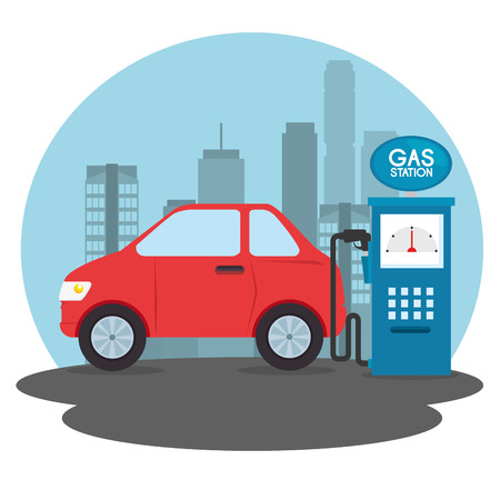 Illustration pour gas station cartoon vector illustration graphic design - image libre de droit