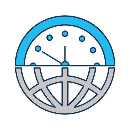 Ilustración de half globe plus half clock meaning time management vector illustration - Imagen libre de derechos