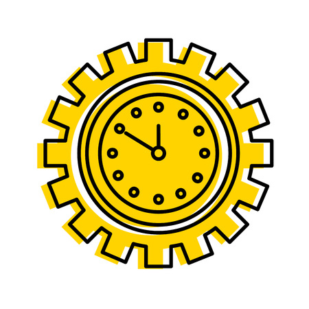 Illustration pour clock inside gear business time work concept vector illustration - image libre de droit