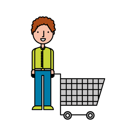 Illustration for young man pushing trolley shopping customer vector illustration - Royalty Free Image