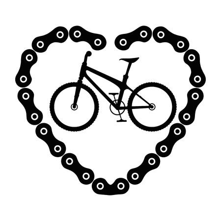 Ilustración de bicycle vehicle with heart chain vector illustration design - Imagen libre de derechos