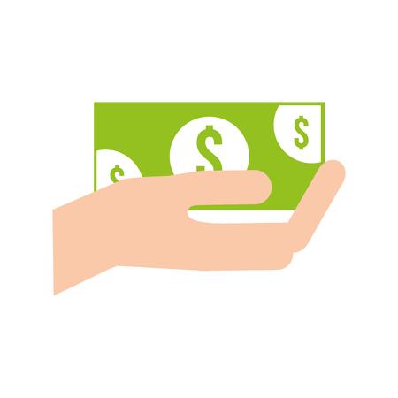 Ilustración de hand holding baknote cash payment vector illustration - Imagen libre de derechos