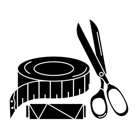 Illustration pour sewing thread tubes with scissors and tape measure vector illustration design - image libre de droit