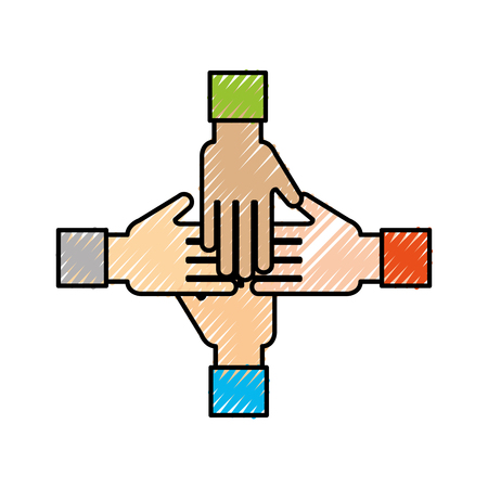Illustration pour business team showing unity with their hands together business vector illustration - image libre de droit