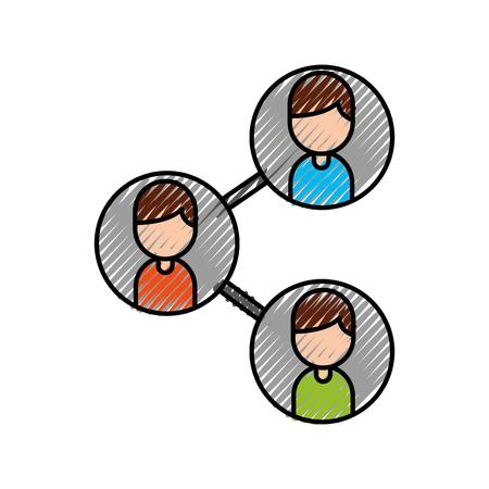 Ilustración de leader and business colleagues team organization with characters vector illustration - Imagen libre de derechos